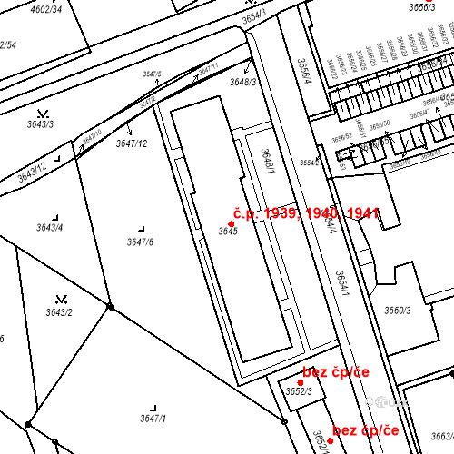 Katastrální mapa Stavební objekt Královo Pole 1939, 1940, 1941, Brno