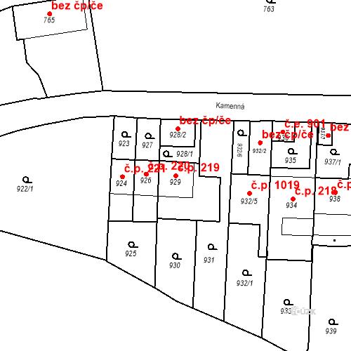 Katastrální mapa Stavební objekt Štýřice 219, Brno