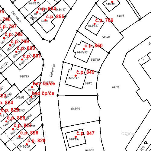 Katastrální mapa Stavební objekt Židlochovice 849, Židlochovice