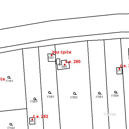 Katastrální mapa Stavební objekt Předměstí 280, Svitavy