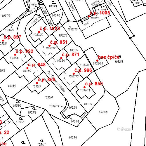 Katastrální mapa Stavební objekt Štýřice 996, Brno