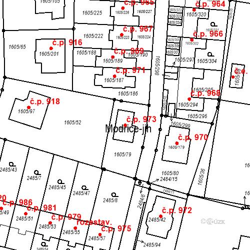 Katastrální mapa Stavební objekt Modřice 973, Modřice