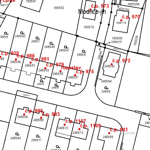 Katastrální mapa Stavební objekt Modřice 975, Modřice