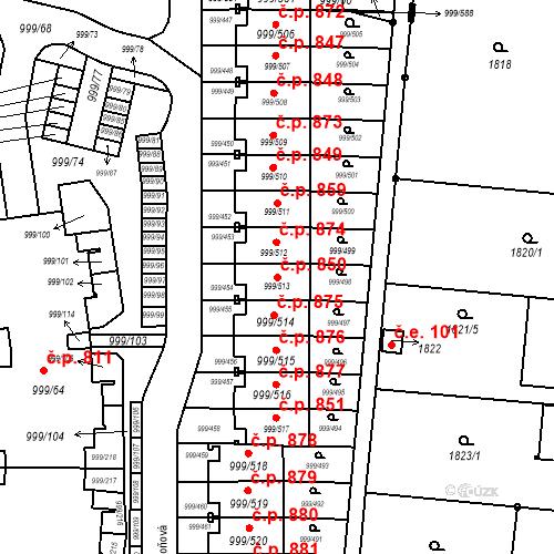 Katastrální mapa Stavební objekt Moravany 850, Moravany