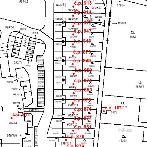 Katastrální mapa Stavební objekt Moravany 859, Moravany