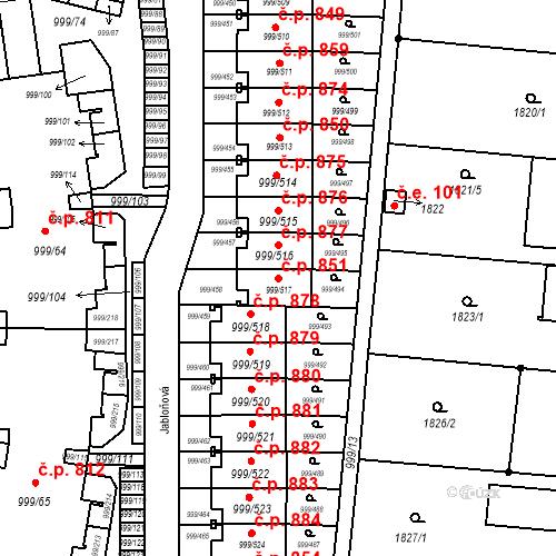 Katastrální mapa Stavební objekt Moravany 851, Moravany