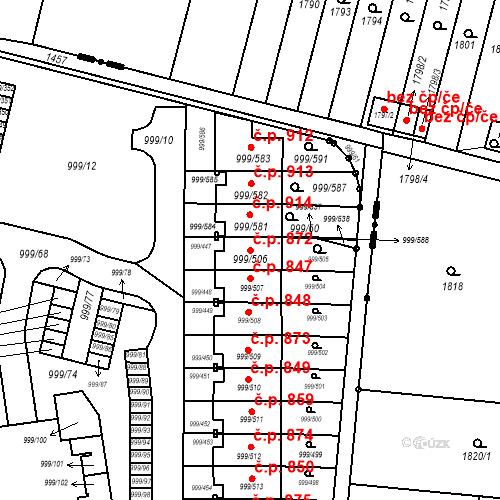 Katastrální mapa Stavební objekt Moravany 872, Moravany