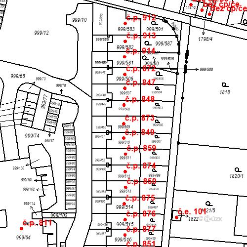 Katastrální mapa Stavební objekt Moravany 873, Moravany