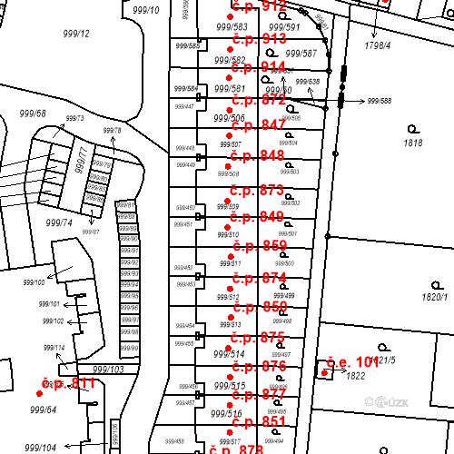 Katastrální mapa Stavební objekt Moravany 849, Moravany