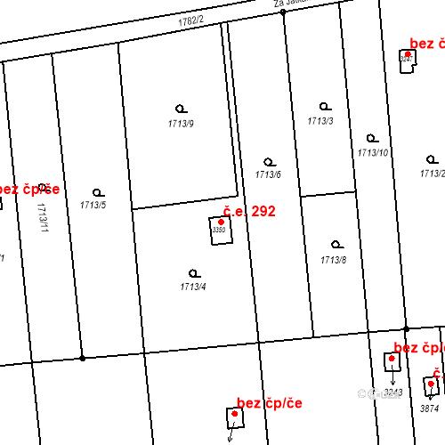 Katastrální mapa Stavební objekt Předměstí 292, Svitavy