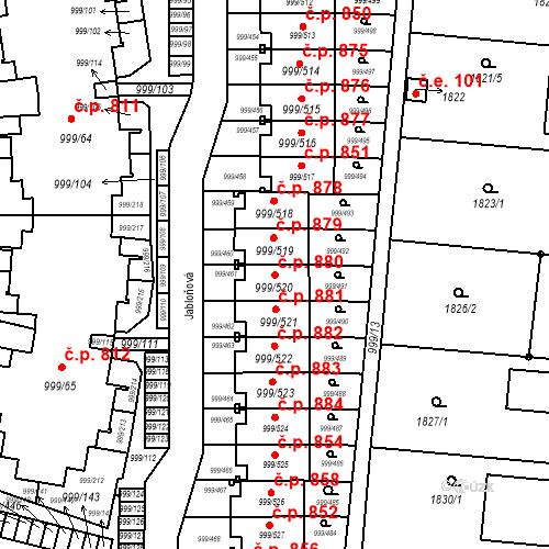 Katastrální mapa Stavební objekt Moravany 880, Moravany