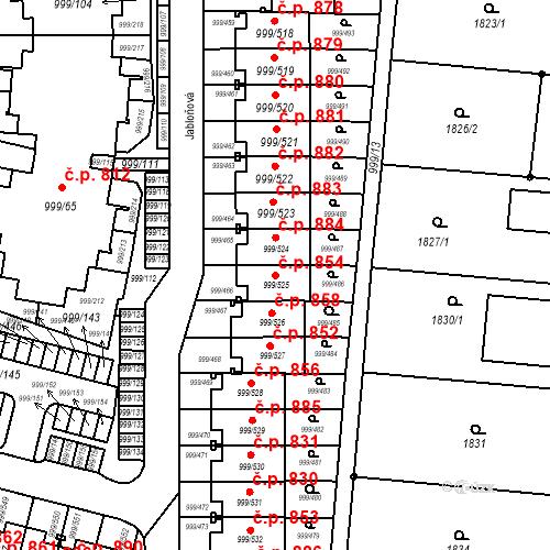 Katastrální mapa Stavební objekt Moravany 854, Moravany
