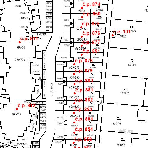 Katastrální mapa Stavební objekt Moravany 879, Moravany