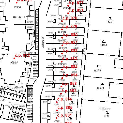 Katastrální mapa Stavební objekt Moravany 883, Moravany