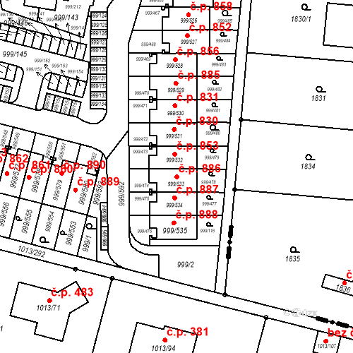 Katastrální mapa Stavební objekt Moravany 886, Moravany
