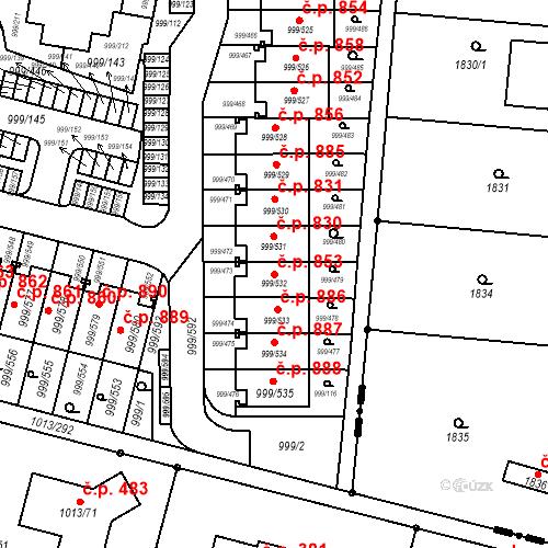 Katastrální mapa Stavební objekt Moravany 853, Moravany