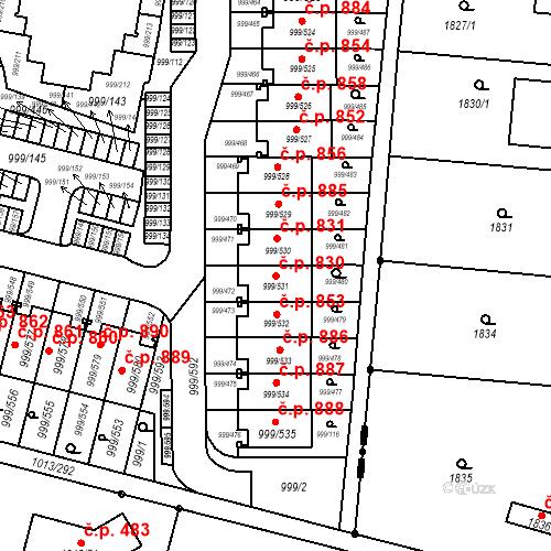 Katastrální mapa Stavební objekt Moravany 830, Moravany