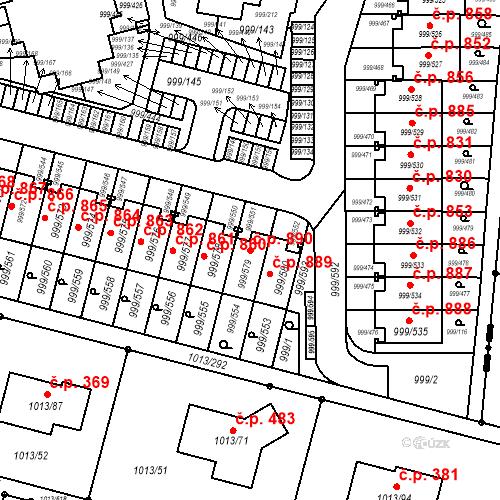 Katastrální mapa Stavební objekt Moravany 890, Moravany