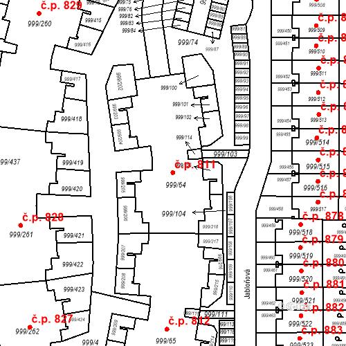 Katastrální mapa Stavební objekt Moravany 811, Moravany