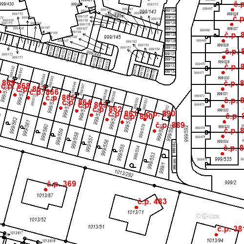 Katastrální mapa Stavební objekt Moravany 860, Moravany