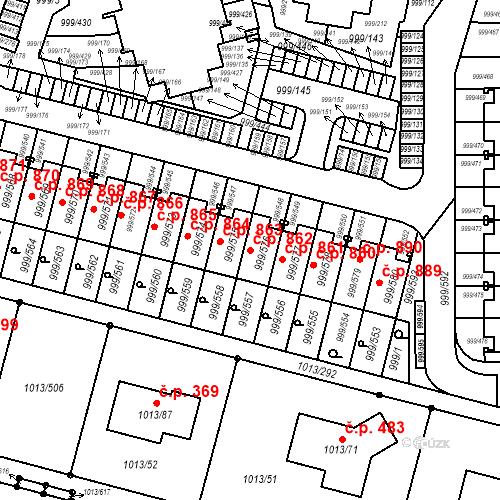 Katastrální mapa Stavební objekt Moravany 862, Moravany