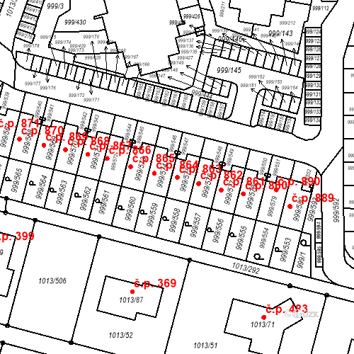 Katastrální mapa Stavební objekt Moravany 863, Moravany