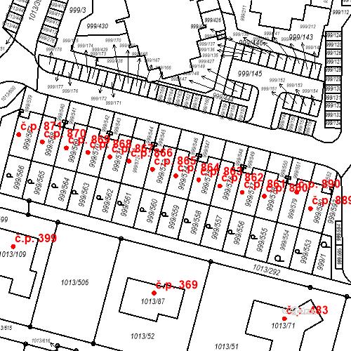 Katastrální mapa Stavební objekt Moravany 864, Moravany