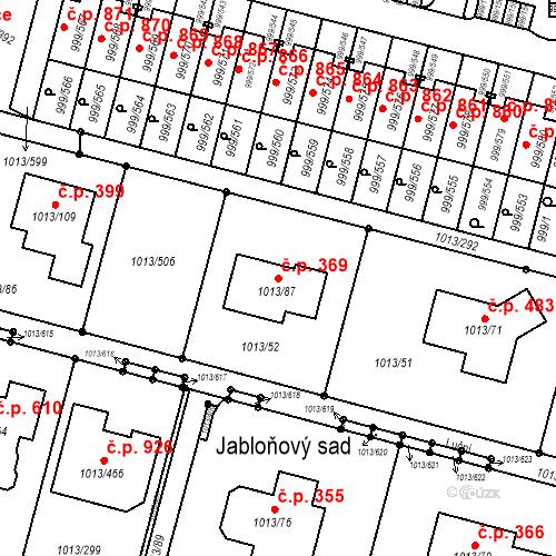 Katastrální mapa Stavební objekt Moravany 369, Moravany
