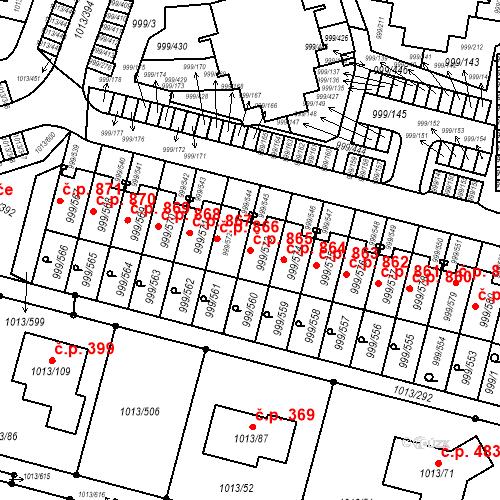 Katastrální mapa Stavební objekt Moravany 865, Moravany
