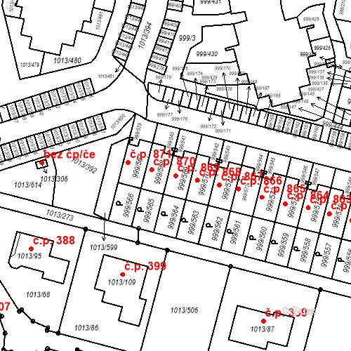 Katastrální mapa Stavební objekt Moravany 869, Moravany