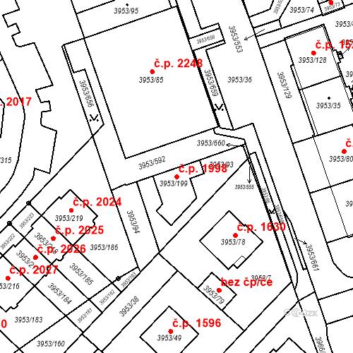 Katastrální mapa Stavební objekt Řečkovice 1998, Brno