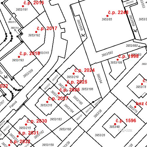 Katastrální mapa Stavební objekt Řečkovice 2024, Brno