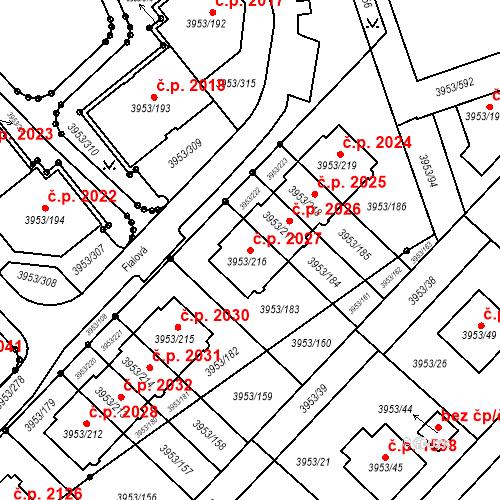 Katastrální mapa Stavební objekt Řečkovice 2027, Brno