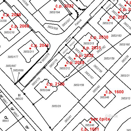 Katastrální mapa Stavební objekt Řečkovice 2028, Brno