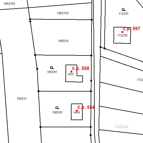 Katastrální mapa Stavební objekt Kunštát 558, Kunštát