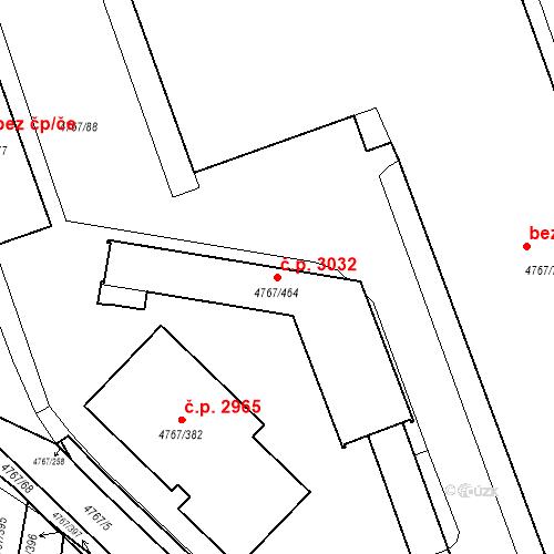 Katastrální mapa Stavební objekt Královo Pole 3032, Brno
