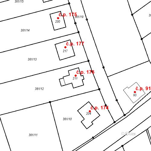 Katastrální mapa Stavební objekt Vranová 176, Vranová