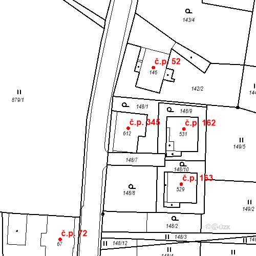 Katastrální mapa Stavební objekt Velká Ves 345, Broumov