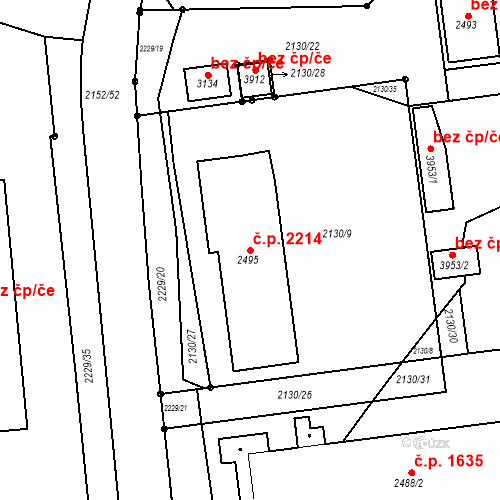 Katastrální mapa Stavební objekt Předměstí 2214, Svitavy