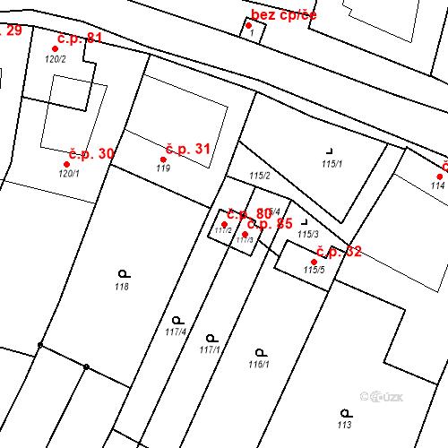 Katastrální mapa Stavební objekt Býkovice 80, Býkovice