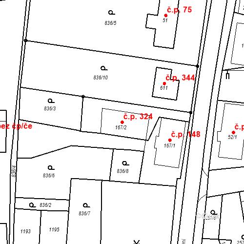 Katastrální mapa Stavební objekt Velká Ves 324, Broumov