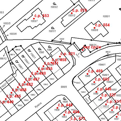 Katastrální mapa Stavební objekt Medlánky 521, Brno