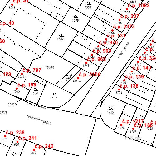 Katastrální mapa Stavební objekt Žabovřesky 3106, Brno