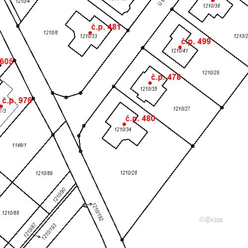 Katastrální mapa Stavební objekt Moravany 480, Moravany