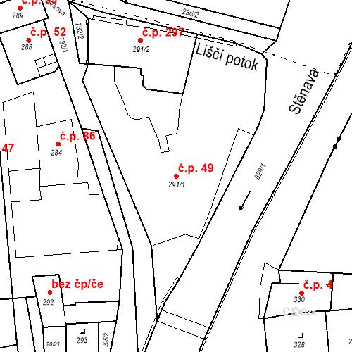 Katastrální mapa Stavební objekt Nové Město 49, Broumov