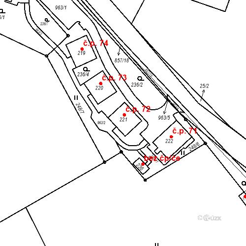 Katastrální mapa Stavební objekt Žampach 72, Žampach