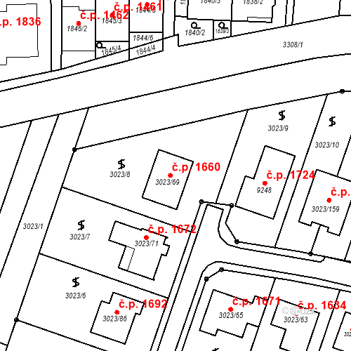Katastrální mapa Stavební objekt Mikulov 1660, Mikulov