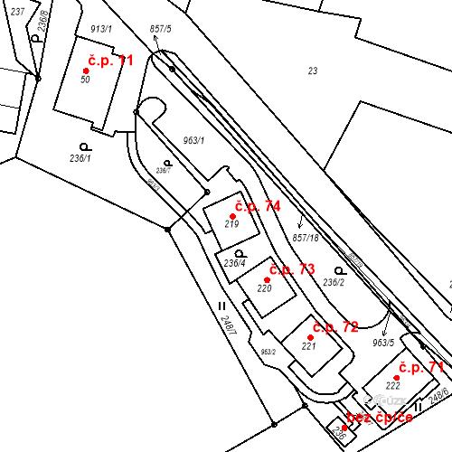 Katastrální mapa Stavební objekt Žampach 74, Žampach