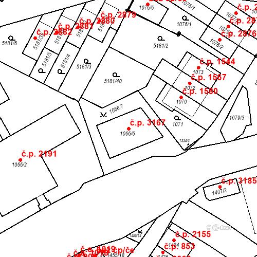 Katastrální mapa Stavební objekt Žabovřesky 3167, Brno