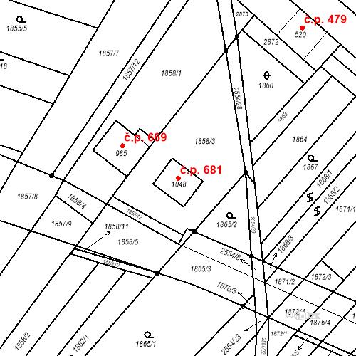 Katastrální mapa Stavební objekt Vranovice 681, Vranovice